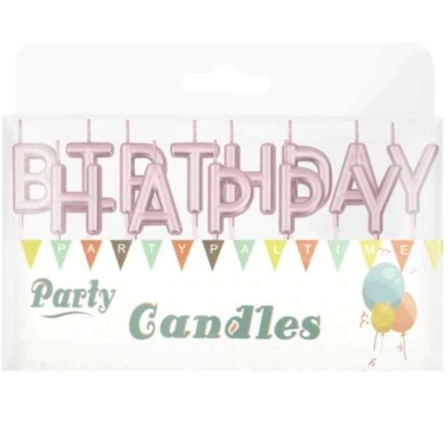 Świeczki na tort Happy Birthday różowe złoto Partypal 7 cm