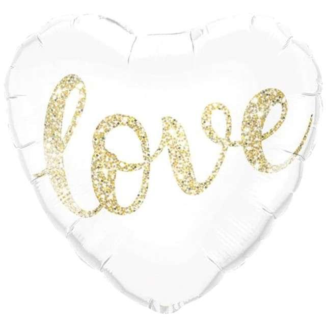 """Balon foliowy """"Love w białym sercu"""", PartyPal, 18"""", HRT"""