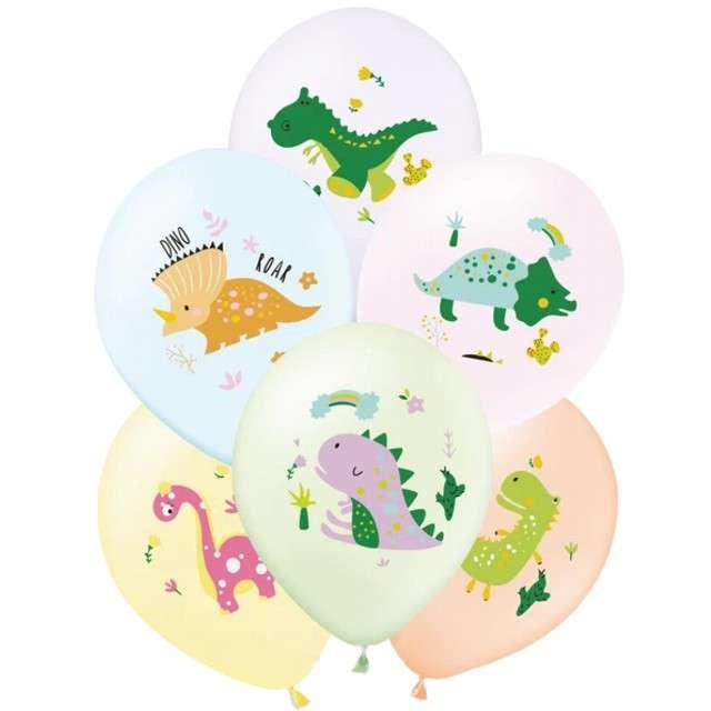 """Balony """"Dinozaury bajkowe"""", pastel mix, PartyPal, 12"""", 6 szt,"""