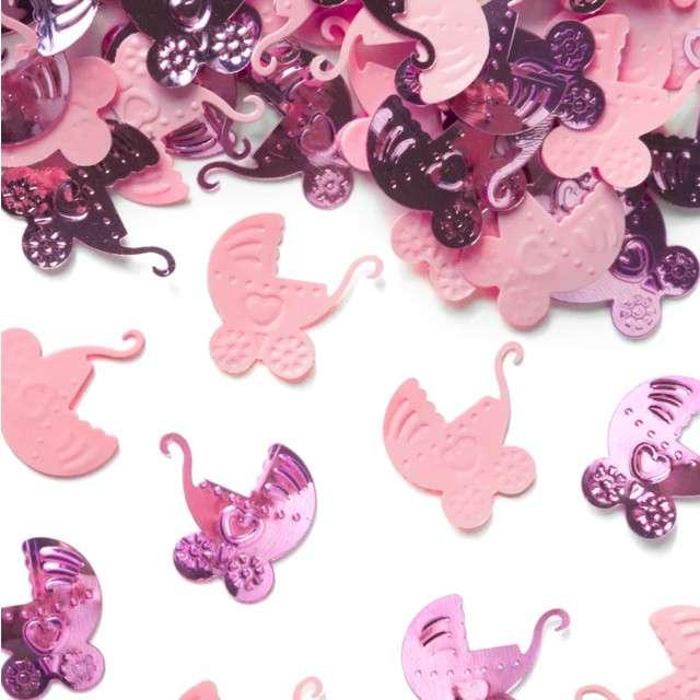 Konfetti Baby Shower - różowe wózki PartyPal 15 g