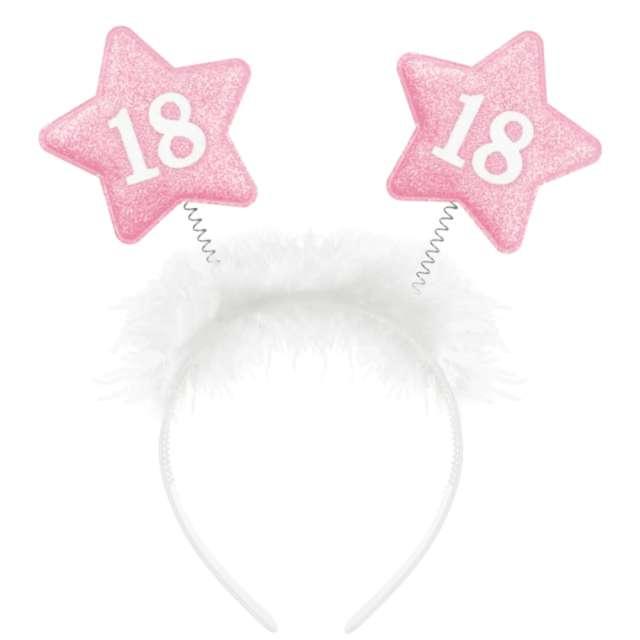 """Opaska party """"18-ste urodziny, gwiazdki"""", biało - różowa, PartyPal"""