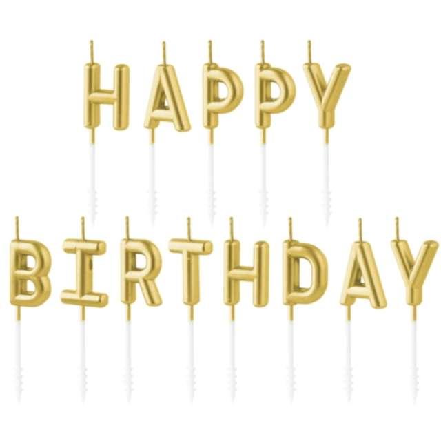 """Świeczki na tort """"Happy Birthday"""", złote, Partypal, 7 cm"""