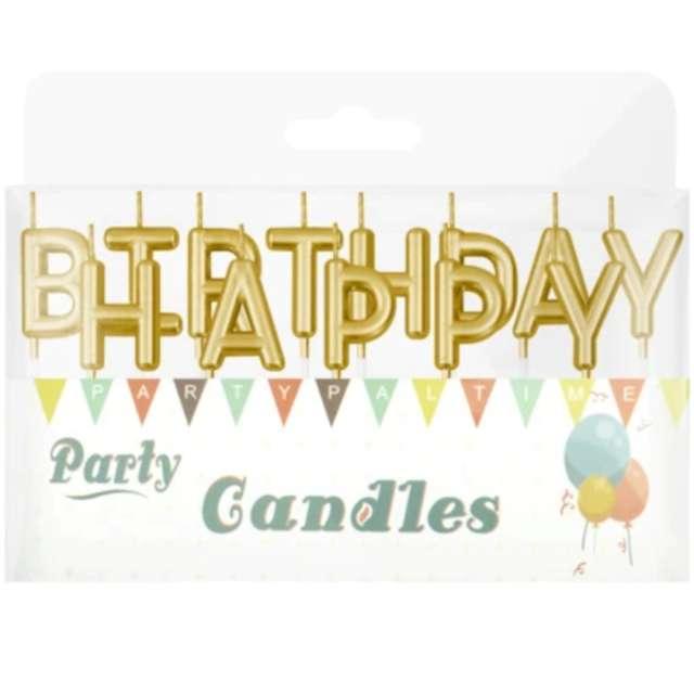 Świeczki na tort Happy Birthday złote Partypal 7 cm