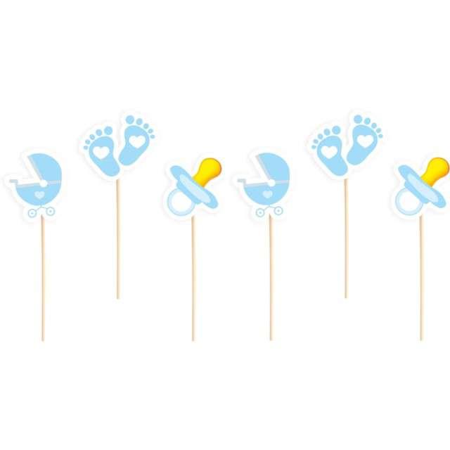 """Pikery """" Baby Shower - chłopiec"""", niebieskie, PartyPal, 6 szt"""
