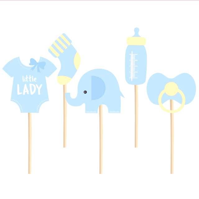 """Pikery """"Baby Shower - chłopiec"""", niebiesko - żółte, PartyPal, 5 szt"""