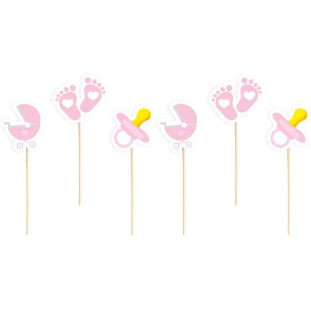 """Pikery """"Baby Shower - smoczek, stópki"""", różowe, PartyPal, 6 szt"""