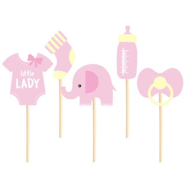 Pikery Baby Shower - dziewczynka różowo - żółte PartyPal 5 szt