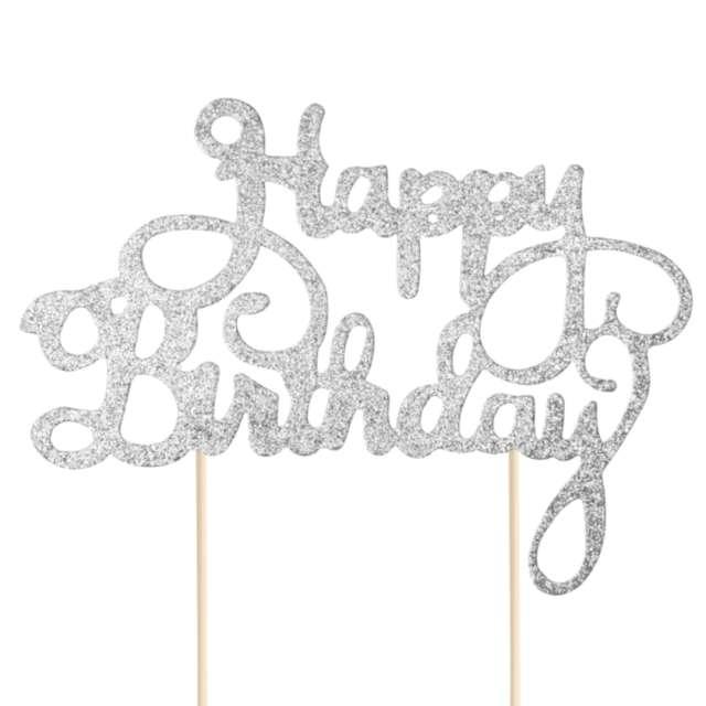 Dekoracja na tort papierowa Happy Birthday - urodziny srebrna PartyPal 21 cm