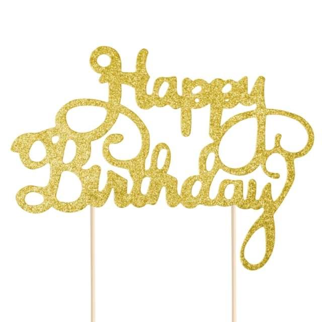 Dekoracja na tort papierowa Happy Birthday - urodziny złota PartyPal