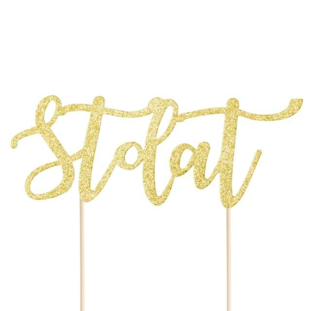 """Dekoracja na tort papierowa """"Sto lat """", złota, PartyPal, 13 cm"""
