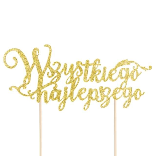 """Dekoracja na tort papierowa """"Wszystkiego najlepszego"""", złota, PartyPal, 19 cm"""