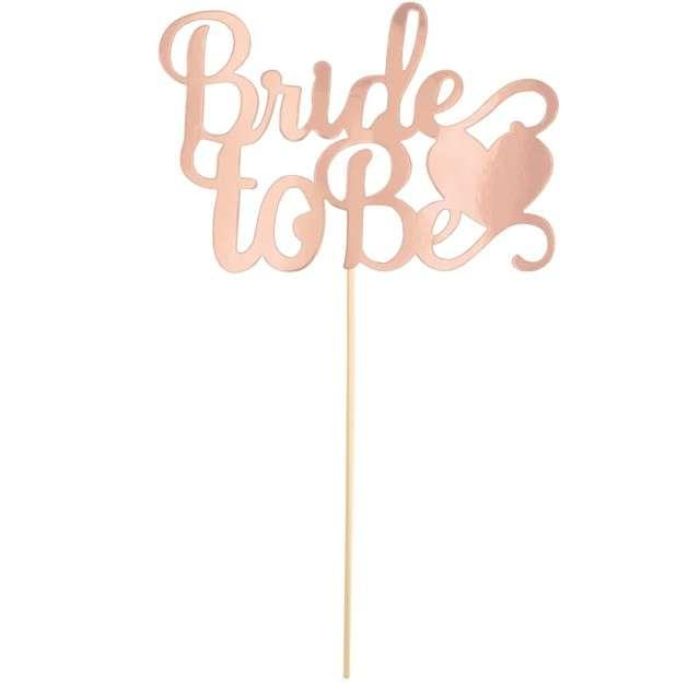 """Dekoracja na tort papierowa  """"Bride to be"""", różowo - złota, PartyPal, 21 cm"""