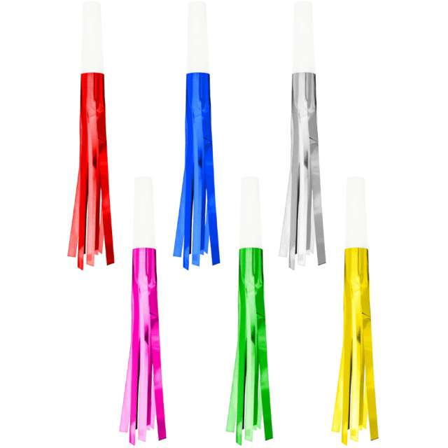 """Trąbki papierowe """"Frędzelki"""", kolorowe, PartyPal, 6 szt"""
