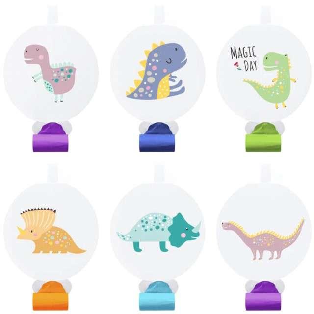 """Trąbki papierowe """"Dinozaury"""", kolorowe, PartyPal, 6 szt"""