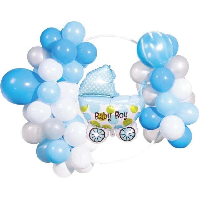 """Girlanda balonowa """"Baby Shower Boy"""", biało-błękitny, PartyPal,"""