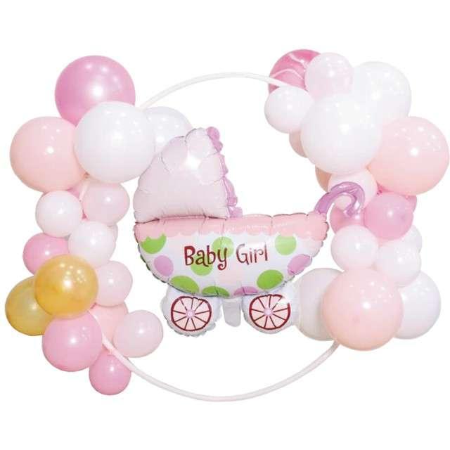"""Girlanda balonowa """"Baby Shower Girl"""", biało-różowy, PartyPal"""