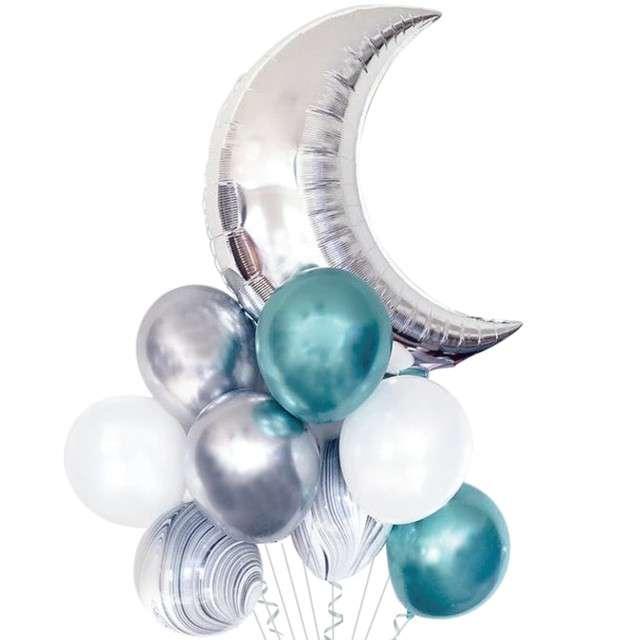 """Zestaw balonów """"Księżyc Party:, srebrno-turkusowy, PartyPal"""