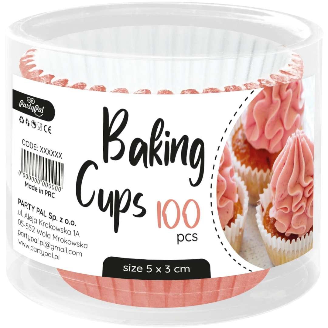 Foremki do muffinek Metaliczne różowe złoto PartyPal 100 szt