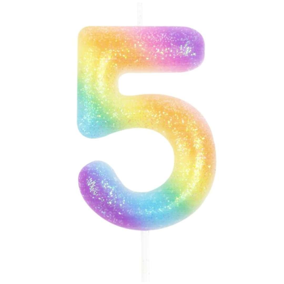 Świeczka Cyfra 5 z brokatem tęczowa PartyPal 6 cm
