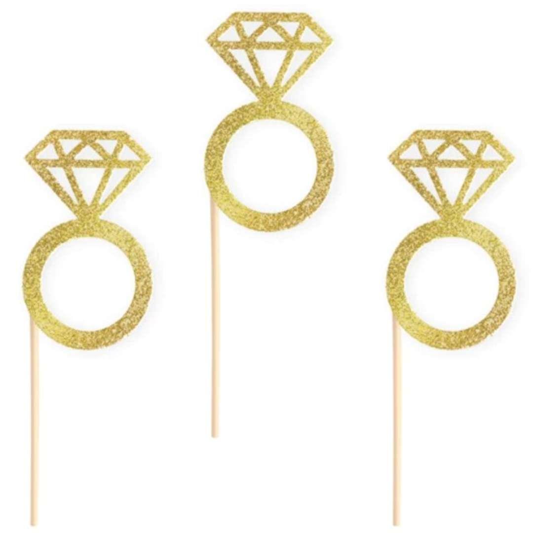 Pikery Wieczór panieński pierścionki złote PartyPal 6 szt