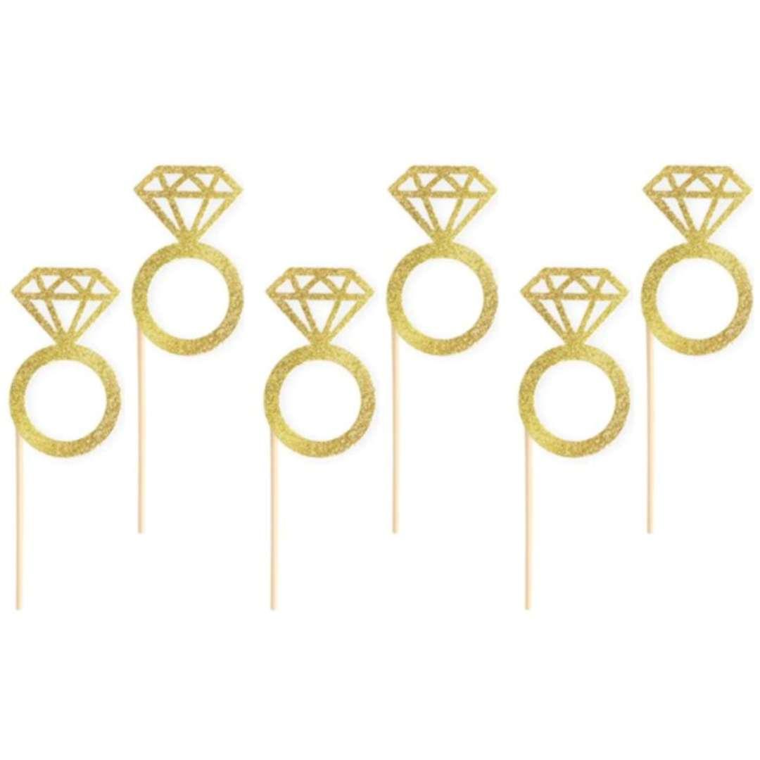 """Pikery """"Wieczór panieński pierścionki"""", złote, PartyPal, 6 szt"""