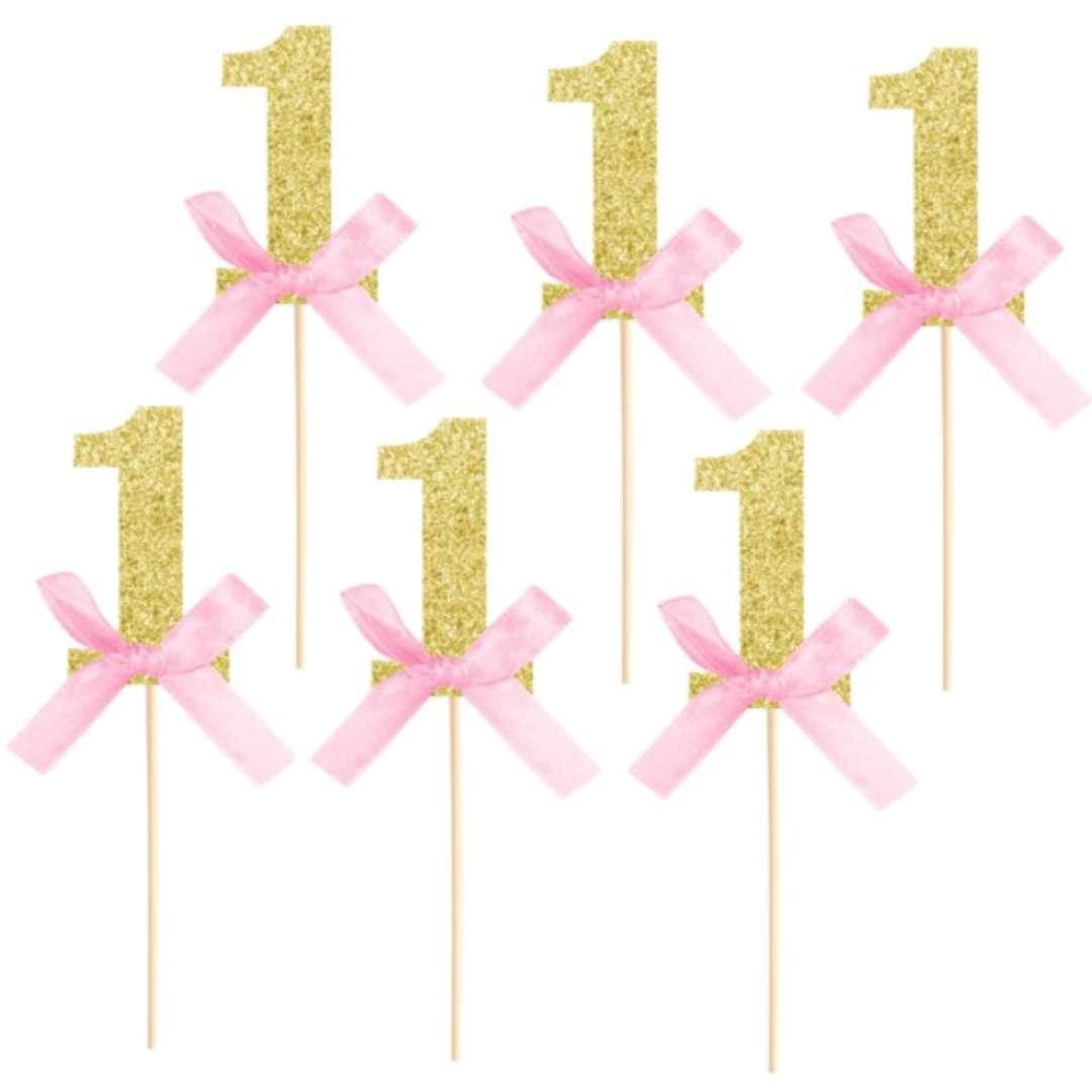 """Pikery """"Cyfra 1- roczek """", różowo - złote, PartyPal, 6 szt"""