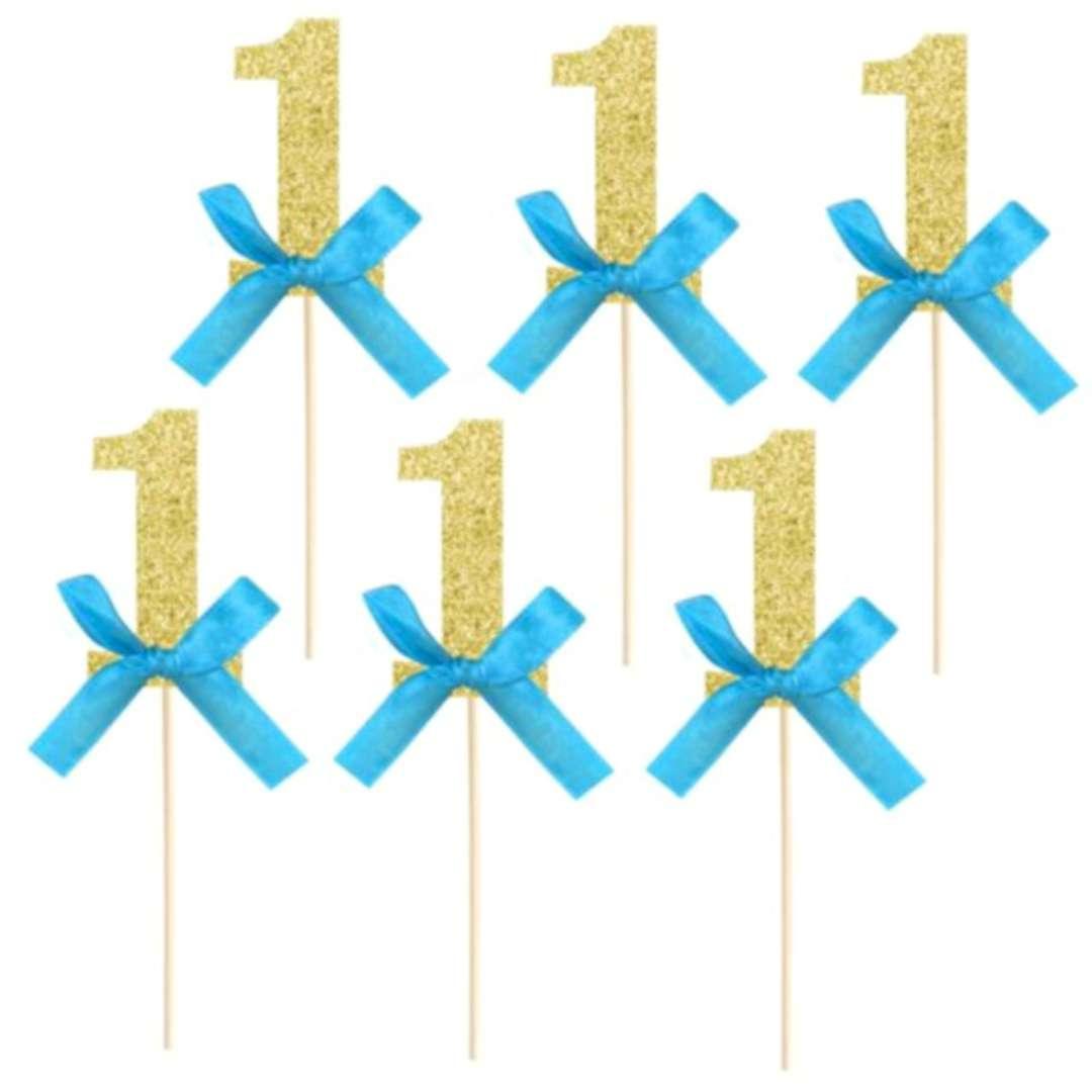 """Pikery """"Cyfra 1- roczek """", niebiesko - złote, PartyPal, 6 szt"""