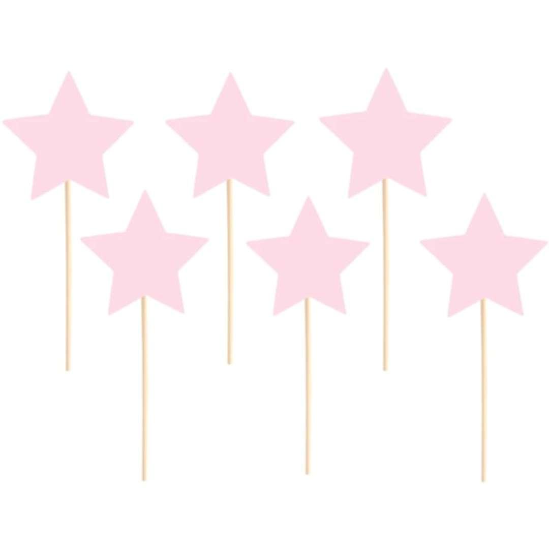 """Pikery """"Gwiazdki"""", różowe, PartyPal, 6 szt"""