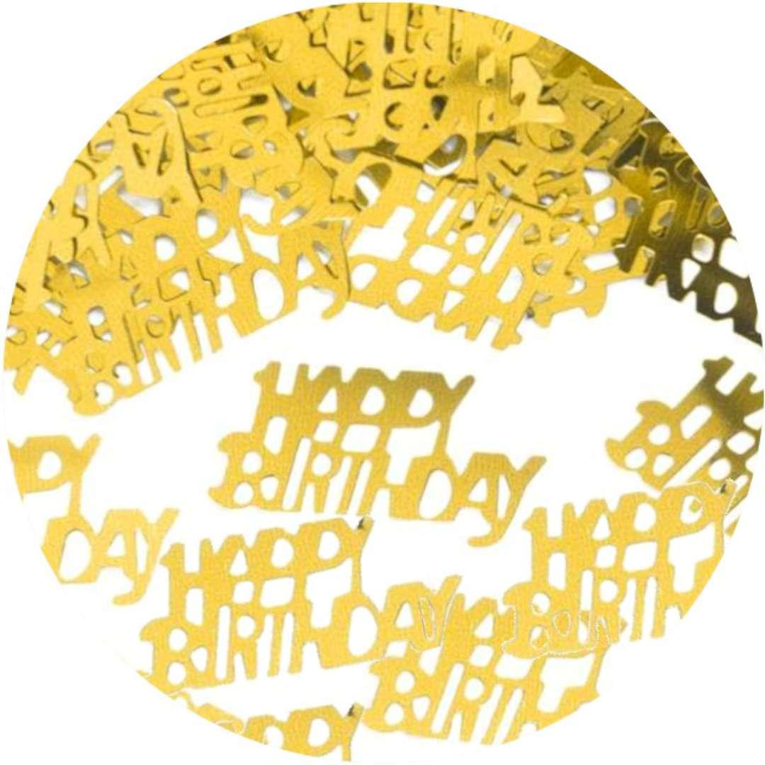 """Konfetti """"Happy Birthday"""", złote, PartyPal, 15 g"""