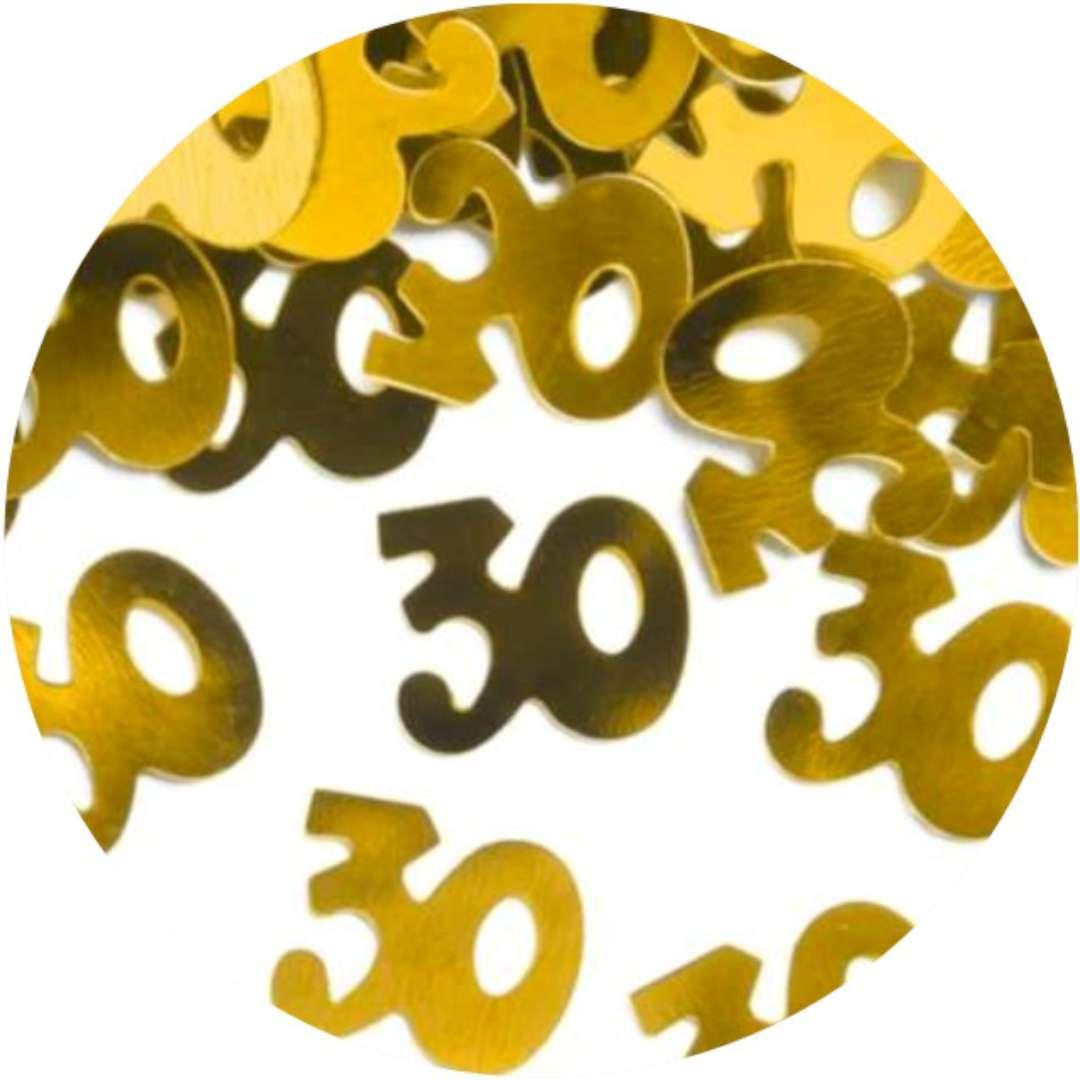 """Konfetti """"30 urodziny"""", złote, PartyPal, 15 g"""