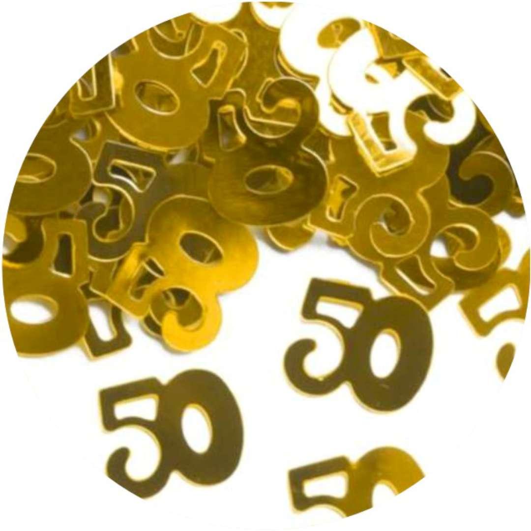 """Konfetti """"50 urodziny"""", złote, PartyPal, 15 g"""