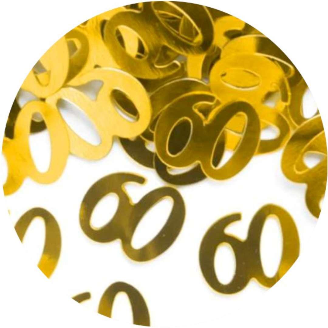 """Konfetti """"60 urodziny"""", złote, PartyPal, 15 g"""