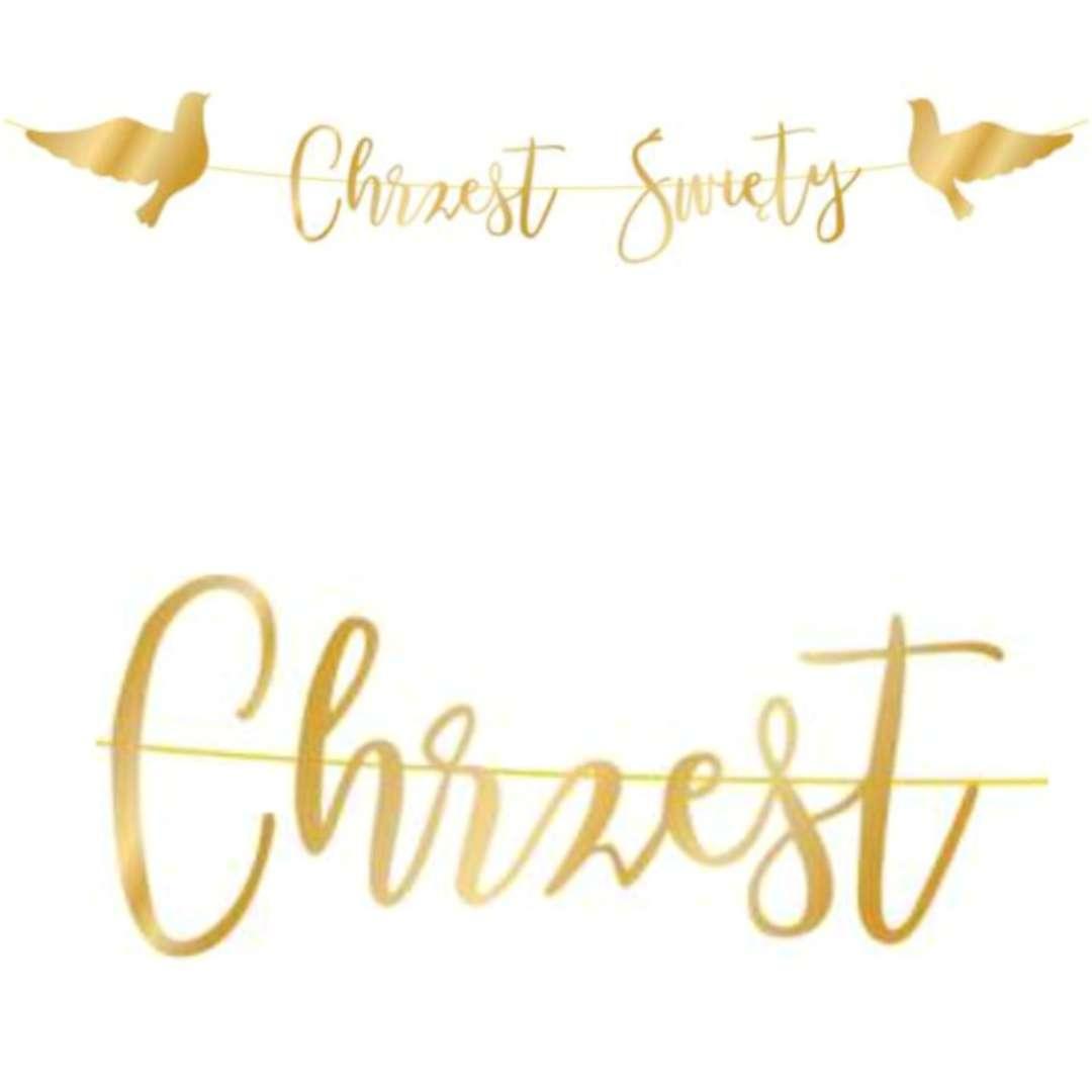 """Baner """"Chrzest Święty - gołębie"""", złoty, PartyPal, 150 cm"""
