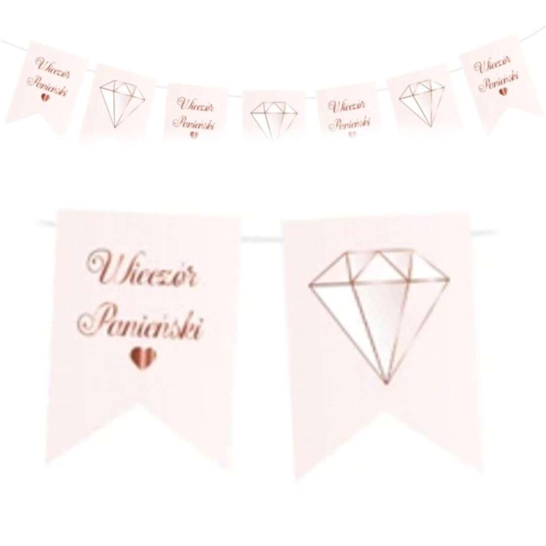 """Baner """"Wieczór panieński - chorągiewki"""", różowy, PartyPal, 250 cm"""