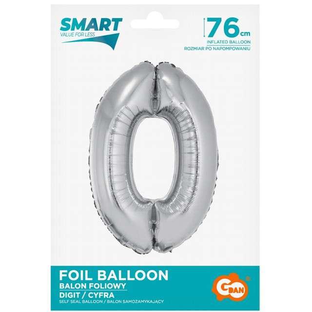 Balon foliowy Smart - Cyfra 0 srebrna Godan 30 SHP