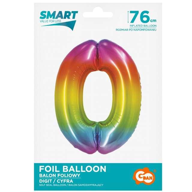 Balon foliowy Smart - Cyfra 0 tęczowy Godan 30 SHP