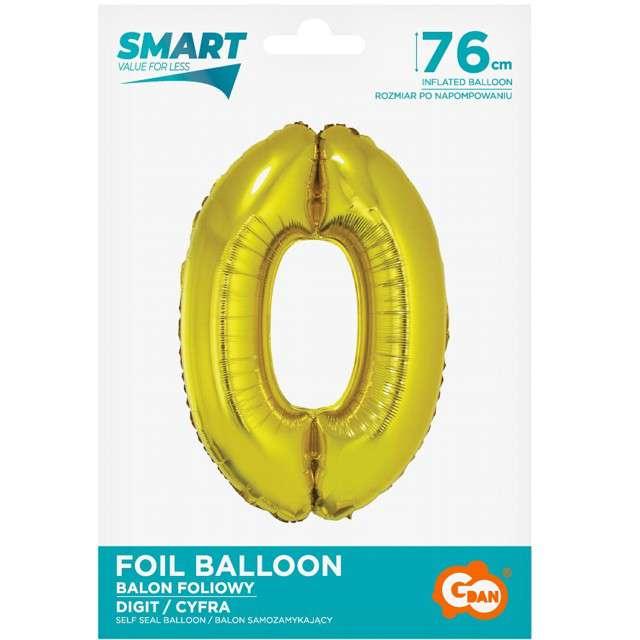 Balon foliowy Smart - Cyfra 0 złoty Godan 30 SHP