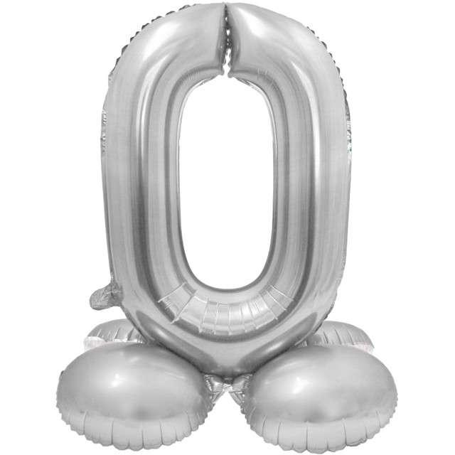 Balon foliowy Smart - Cyfra 0 stojąca srebrna Godan 28 SHP