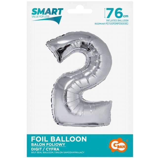 Balon foliowy Smart - Cyfra 2 srebrna Godan 30 SHP