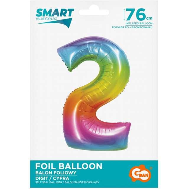 Balon foliowy Smart - Cyfra 2 tęczowy Godan 30 SHP