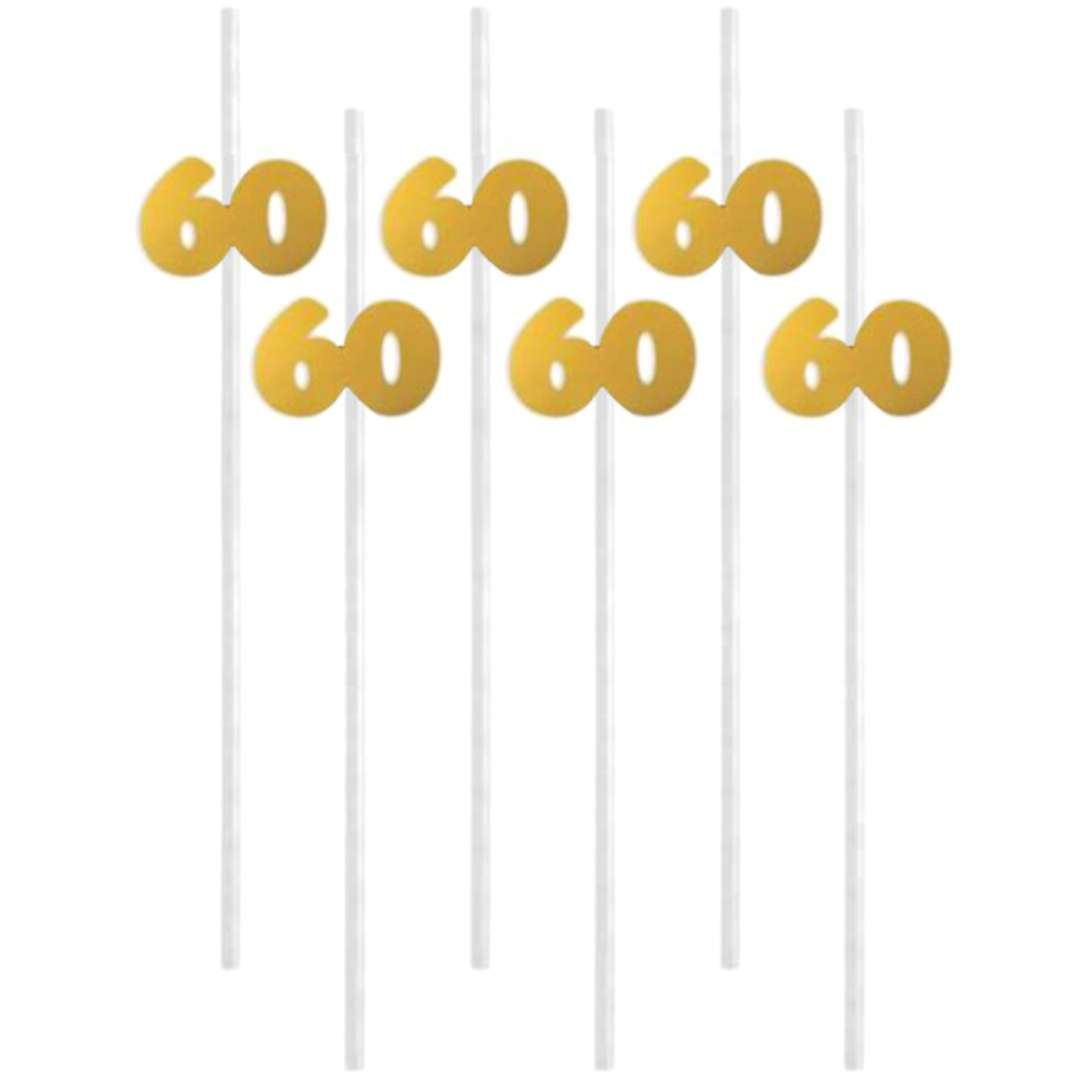 """Słomki """"60"""", 21 cm, złote, 6 szt"""