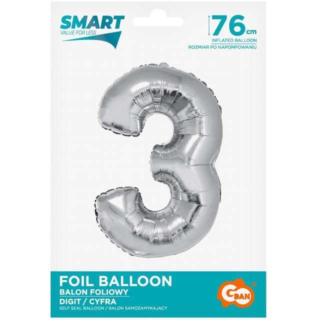 Balon foliowy Smart - Cyfra 3 srebrny Godan 30 SHP