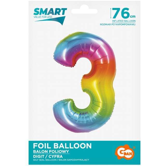 Balon foliowy Smart - Cyfra 3 tęczowy Godan 30 SHP