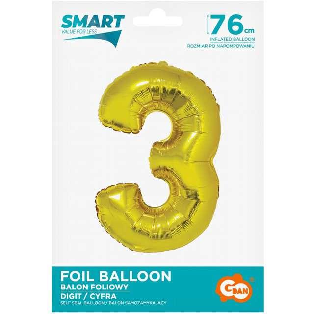 Balon foliowy Smart - Cyfra 3 złoty Godan 30 SHP