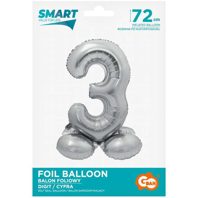 Balon foliowy Smart - Cyfra 3 stojąca srebrny Godan 28 SHP