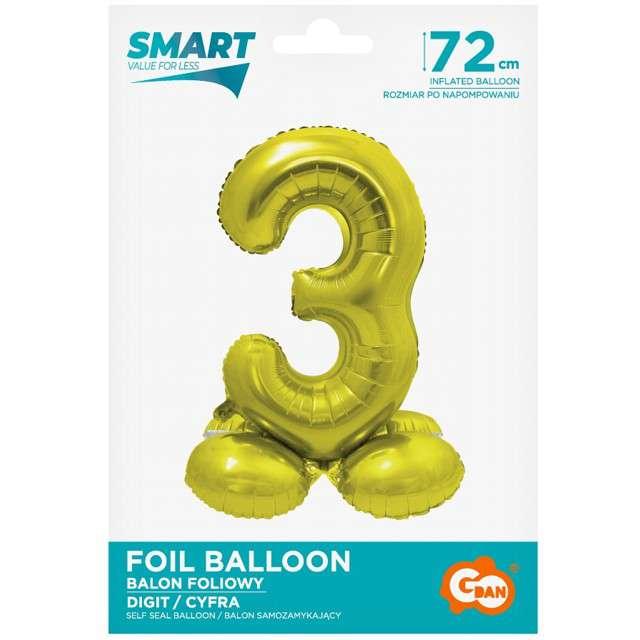 Balon foliowy Smart - Cyfra 3 stojąca złoty Godan 28