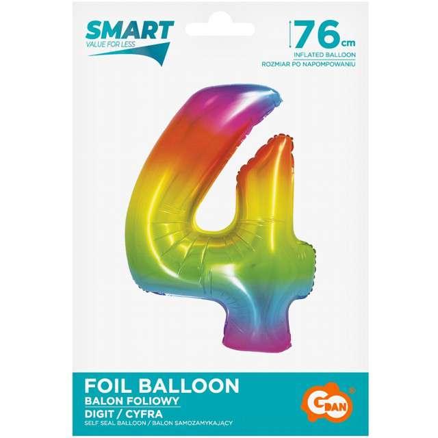 Balon foliowy Smart - Cyfra 4 tęczowy Godan 30 SHP