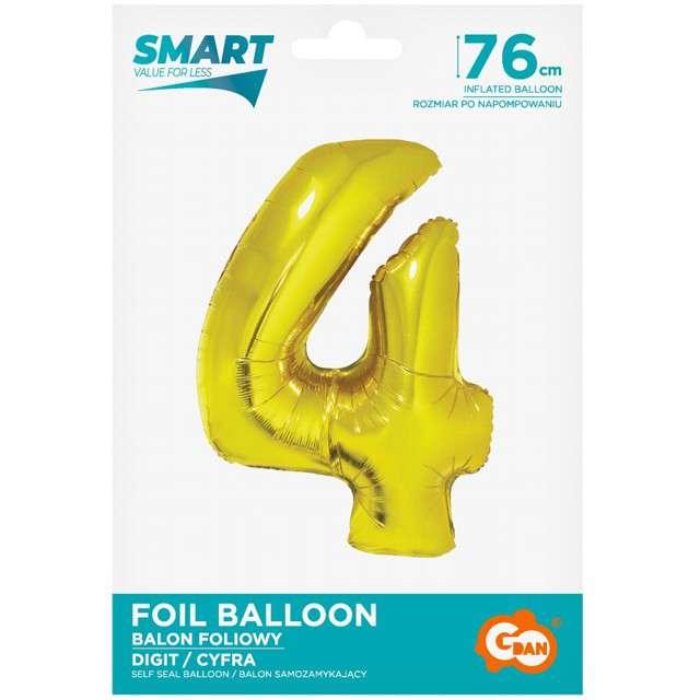 Balon foliowy Smart - Cyfra 4 złoty Godan 30 SHP
