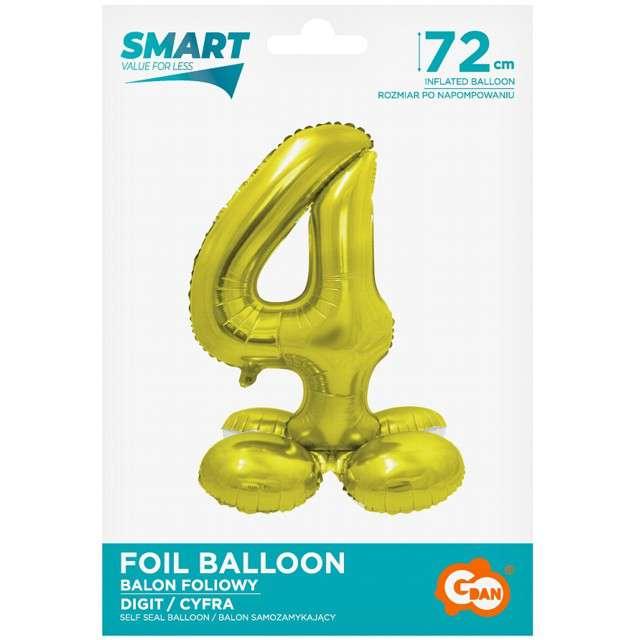 Balon foliowy Smart - Cyfra 4 stojąca złoty Godan 28