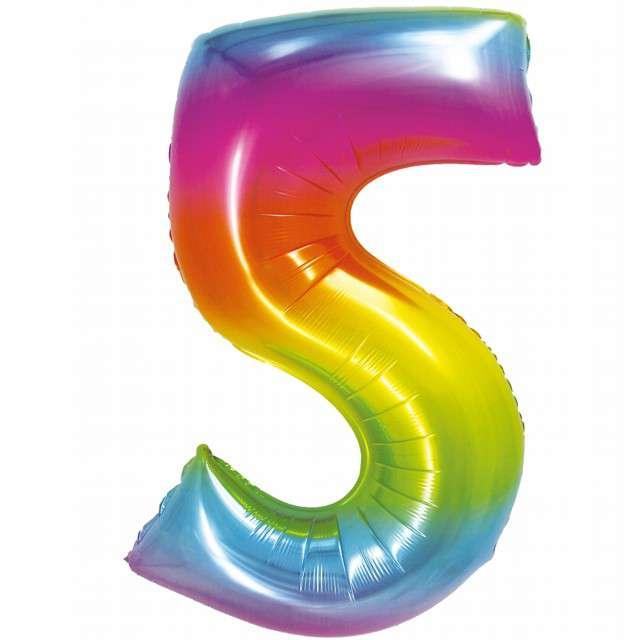 Balon foliowy Smart - Cyfra 5 tęczowy Godan 30 SHP
